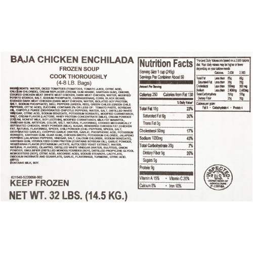 HEINZ CHEF FRANCISCO Baja Chicken Enchilada Soup, 8 lb. Bag (Pack of 4)