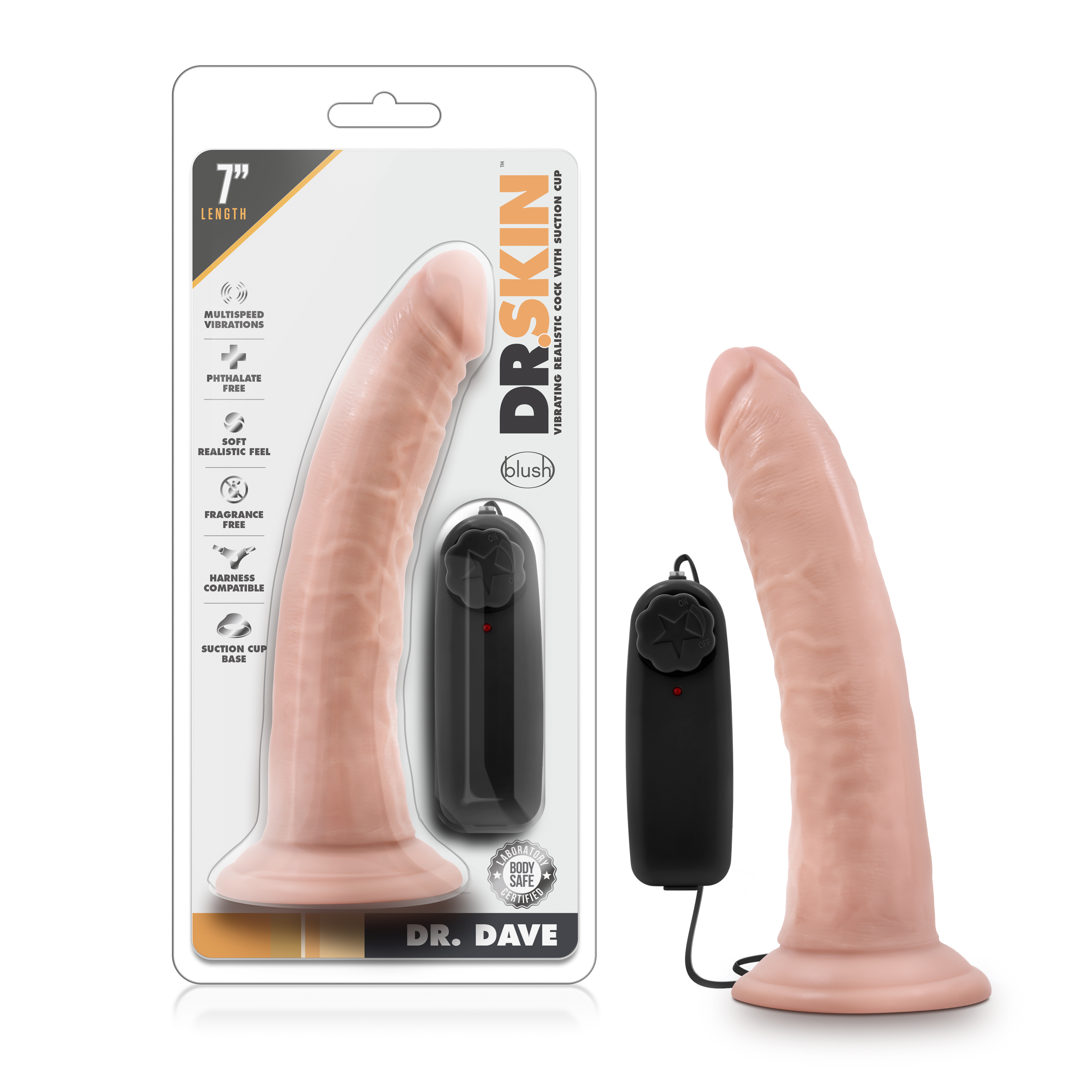 Dr. Skin - Dr. Dave - 7 Inch Vibrating Cock with Suction Cup - Vanilla