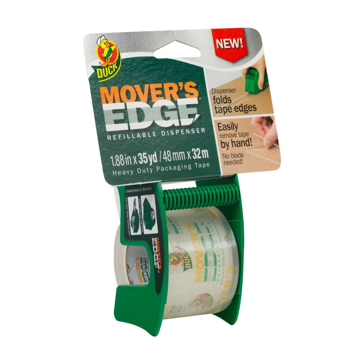 Duck® Brand Movers Edge Refillable Dispenser - Clear, 1.88 in. x 35 yd. Image