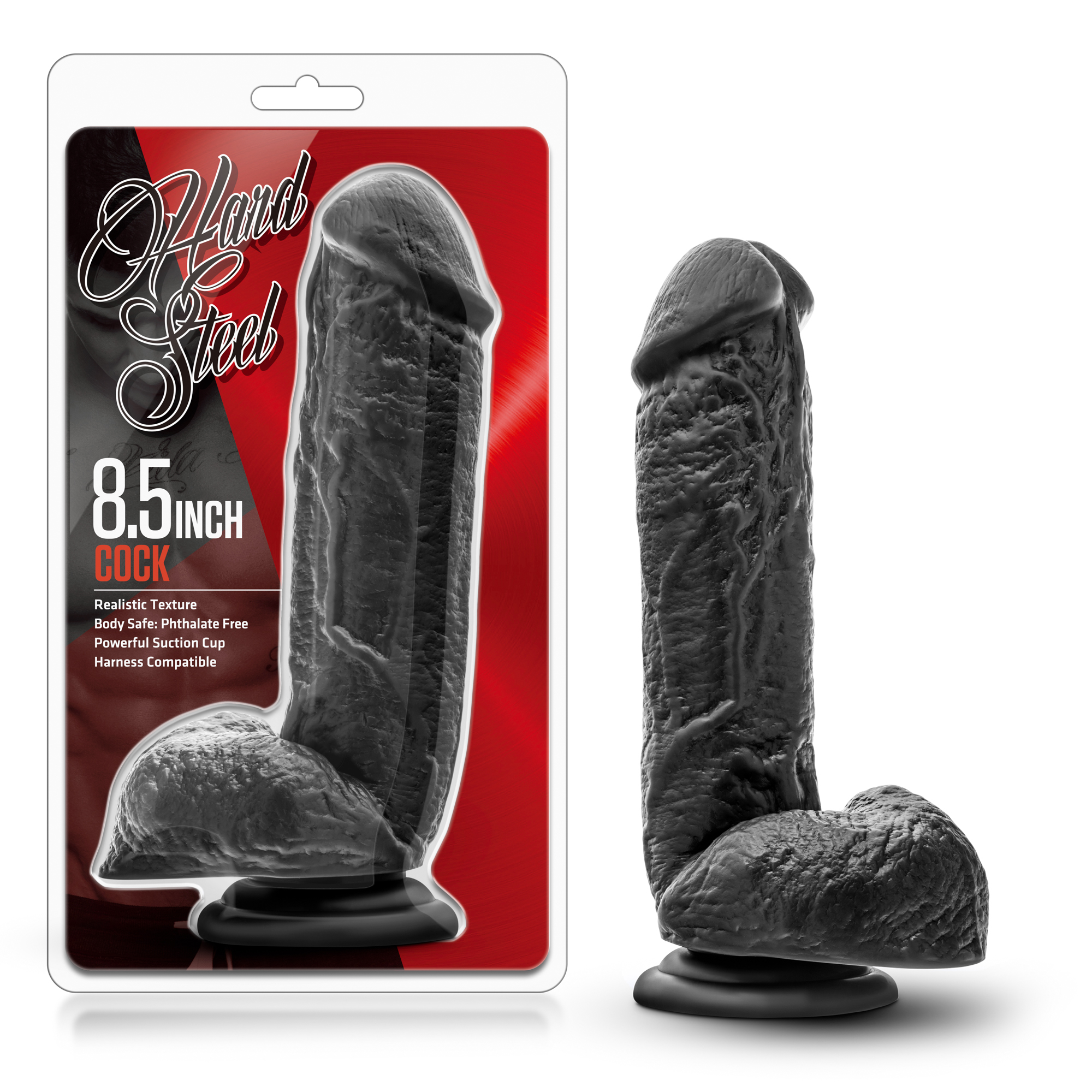Hard Steel - 8.5 inch Cock - black