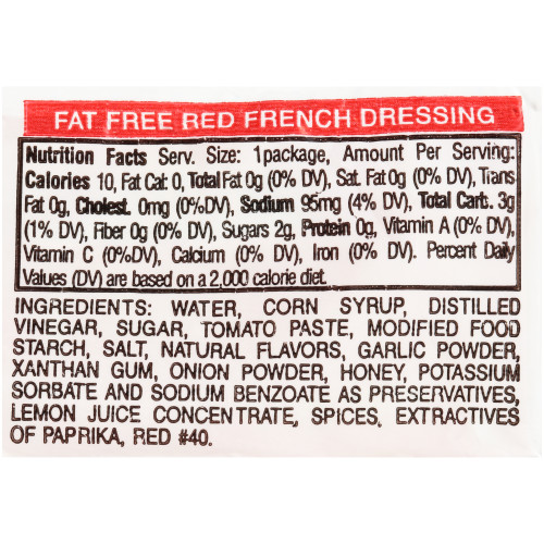 PPI Single Serve Fat Free Red French Dressing, 12 gr. Packets (Pack of 200)