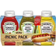 Heinz Tomato Ketchup/Sweet Relish/Yellow Mustard Picnic Pack 3 ct Bottles image