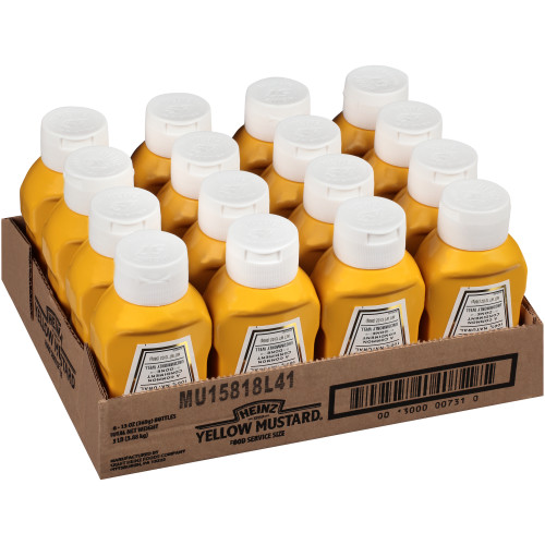Heinz Yellow Mustard, Forever Full, Inverted, No Seal to Peel, 16 ct. 13 oz. Bottles