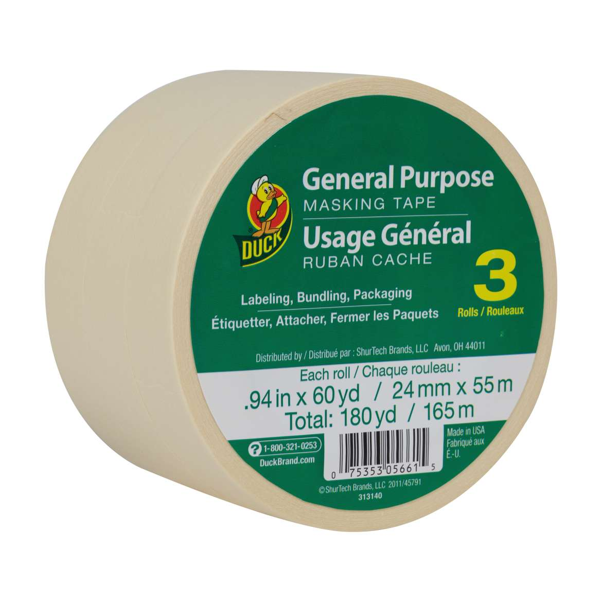 Duck® Brand General Purpose Masking Tape - Beige, 3 pk, .94 in. x 60 yd. Image