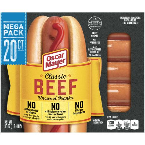 OSCAR MAYER Classic Beef Uncured Franks 30 oz Box