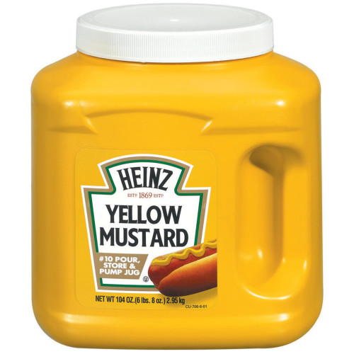 HEINZ Bulk Yellow Mustard Jug, 104 oz. Container (Pack of 6)