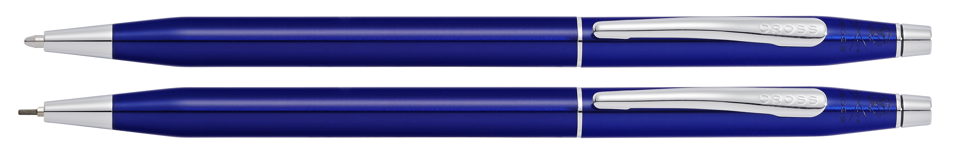 Classic Century Translucent Blue Lacquer Ballpoint Pen and Pencil Set
