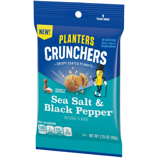 Planters Crunchers Snack Nuts Salt & Pepper 2.25 oz Bag