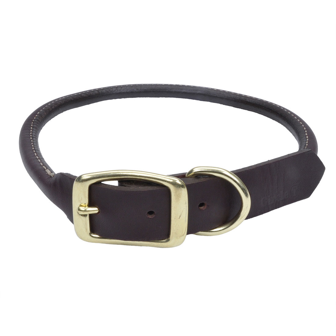 Circle T® Latigo Leather Round Dog Collar with Solid Brass Hardware