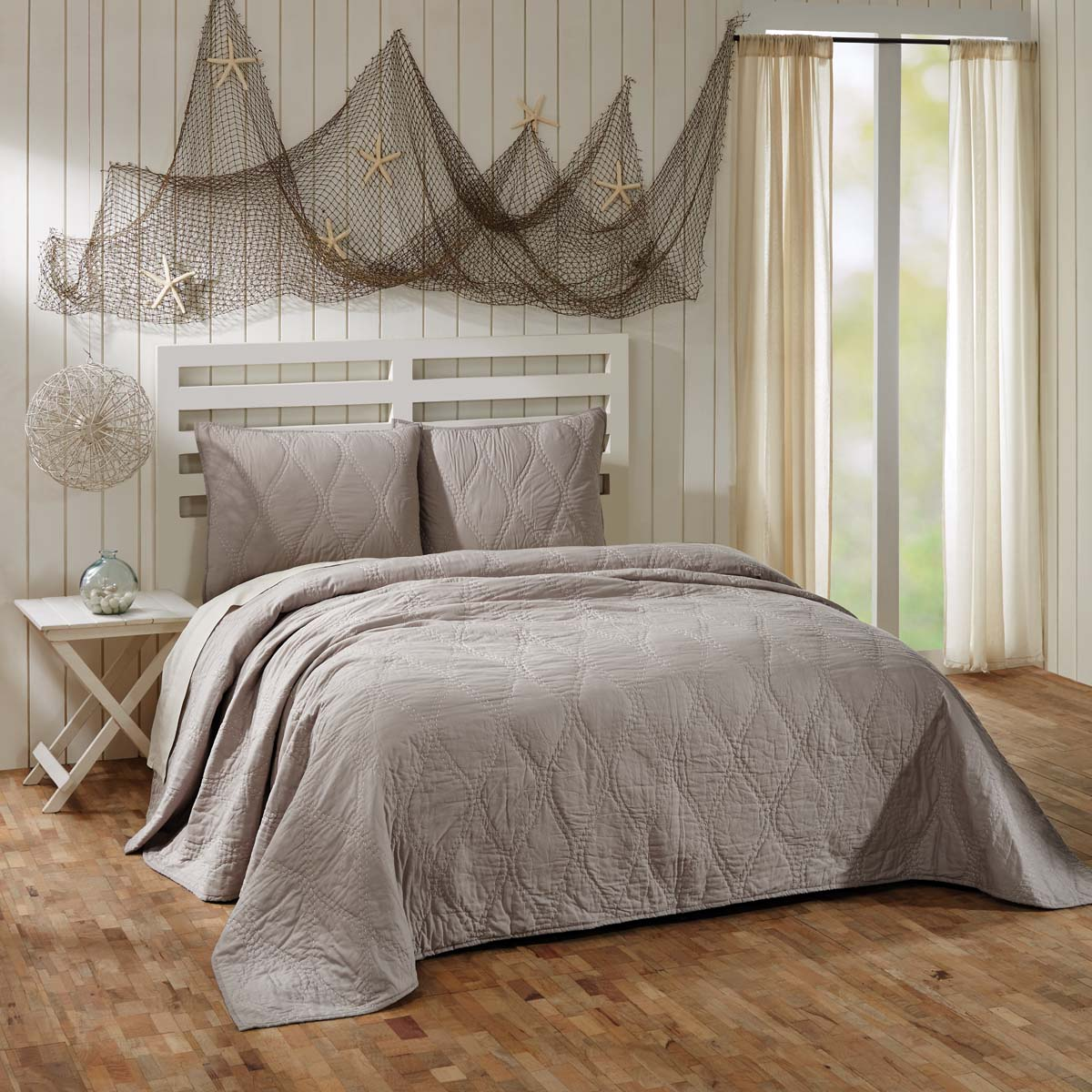 Harbour Grey King Quilt 105Wx95L
