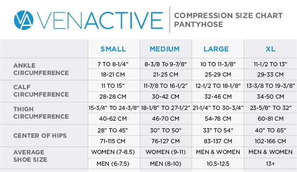 Venactive Pantyhose Size Chart