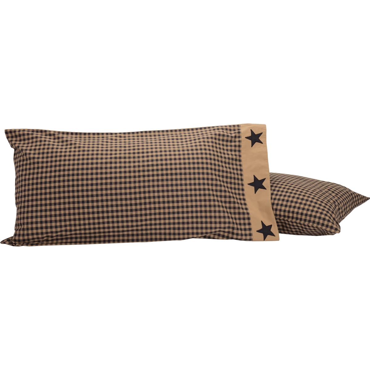 Black Check Star King Pillow Case Set of 2 21x40