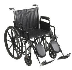 Wheelchair, McKesson, Desk Length Arm Padded, Removable Arm Style Composite Wheel Black 20 Inch Seat Width 350 lbs. Weight Capacity, 146-SSP220DDA-ELR - EACH