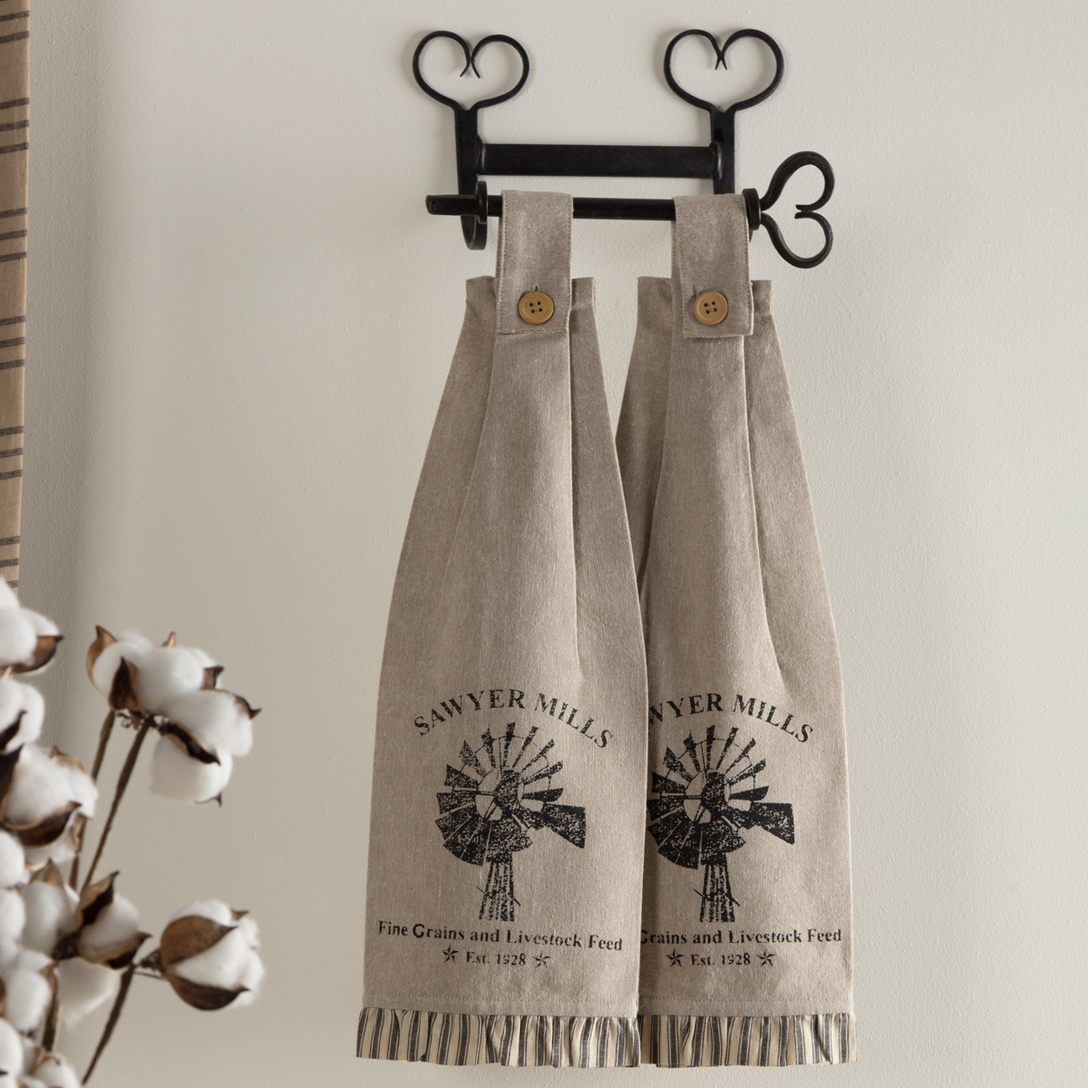Sawyer Mill Charcoal Windmill Button Loop Kitchen Towel Set of 2