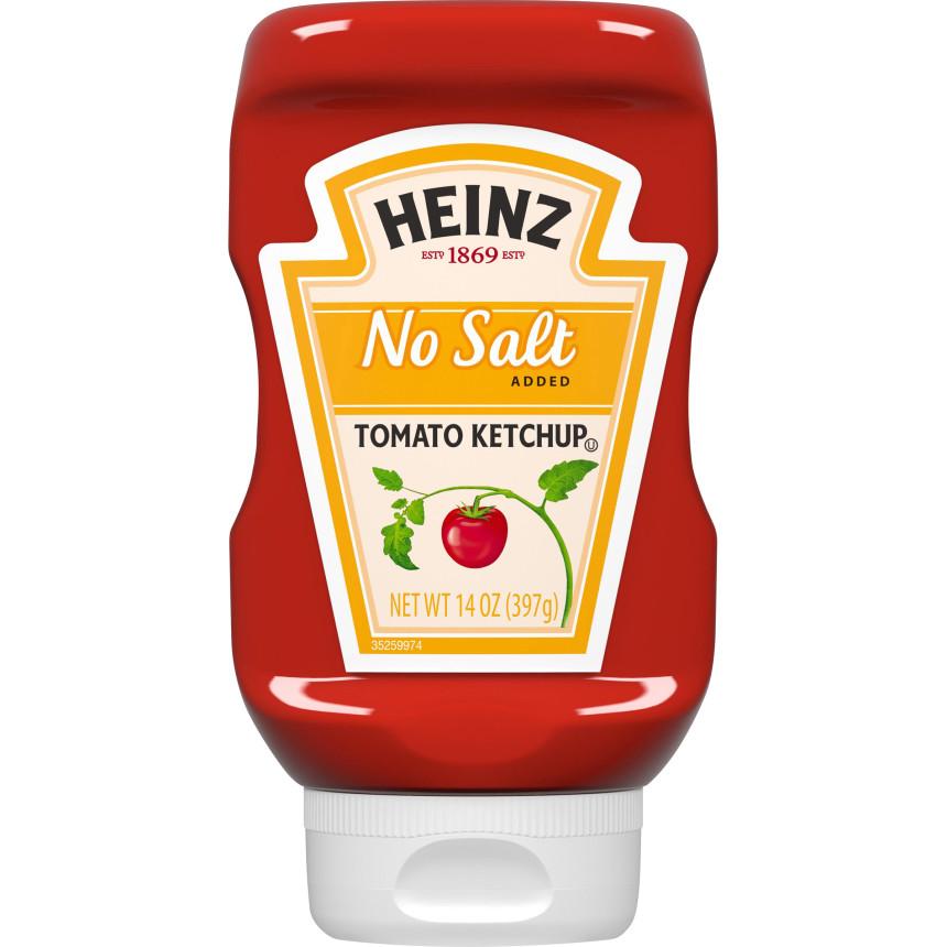 Heinz No Salt Added Inverted Bottle Tomato Ketchup, 14 oz Bottle image