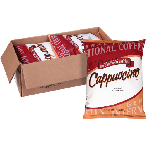 GENERAL FOODS INTERNATIONAL CAFÉ Hazelnut Belgian Cappuccino Powder, 2 lb. Container (Pack of 6)
