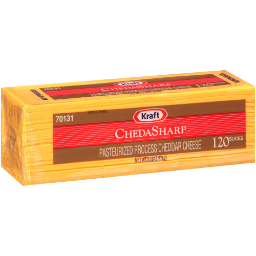 KRAFT ChedaSharp Sliced Cheddar Cheese (120 Slices), 5 lb. (Pack of 4)