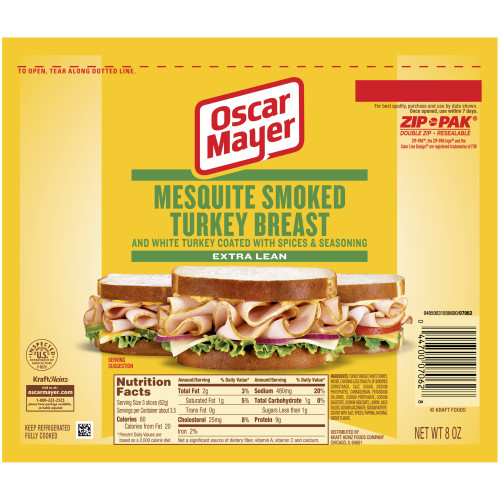 OSCAR MAYER Mesquite Smoked Turkey Breast 8 oz Pack