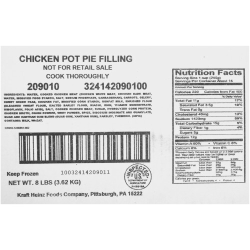 QUALITY CHEF Chicken Pot Pie Filling, 8 lb. Frozen Bag (Pack of 6)