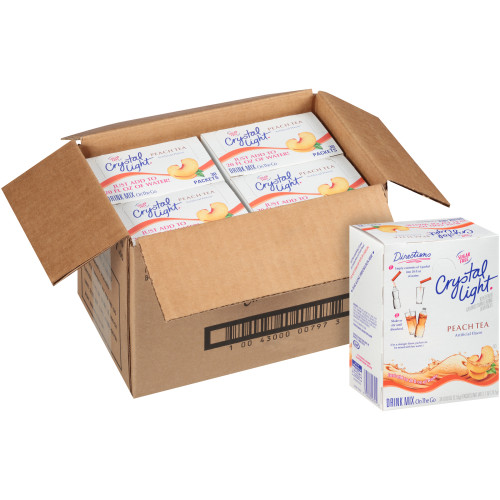 Crystal Light Sugar-Free On The Go Peach Tea Mix, 30 ct - Single Serve Packets, 2.7 oz. Box (Pack of 4)