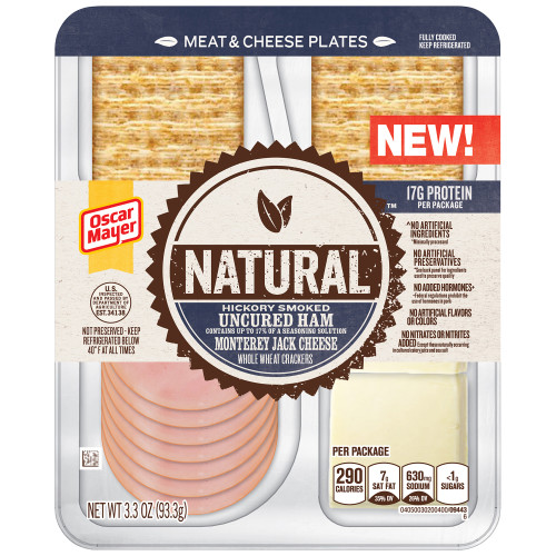 Natural Hickory Smoked Uncured Ham, Monterey Jack Cheese & Whole Wheat Crackers Tray, 3.3 oz