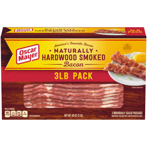 Oscar Mayer Naturally Hardwood Smoked Bacons, 3 - 1 lb