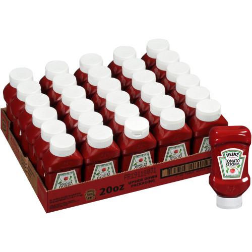 HEINZ Ketchup, 20 oz. FOREVER FULL Inverted Bottles (Pack of 30)