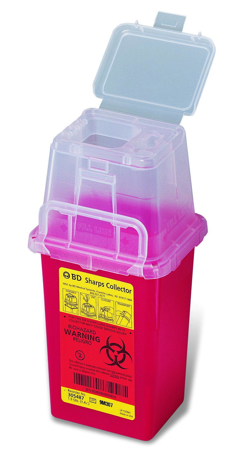 Becton Dickinson Phlebotomy Sharps Container 1-Piece 9 H X 4-1/2 W X 4 D Inch 1.5 Quart Red Vertical Entry Lid, 305487 - Case of 36