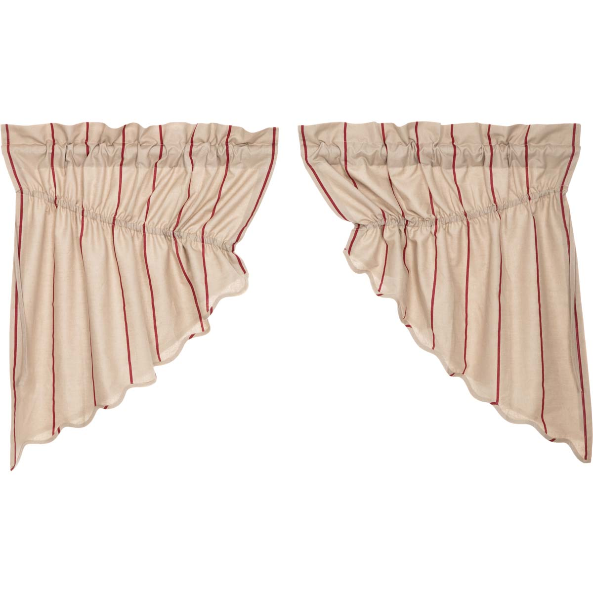 Charlotte Rouge Scalloped Prairie Swag Set of 2 36x36x18