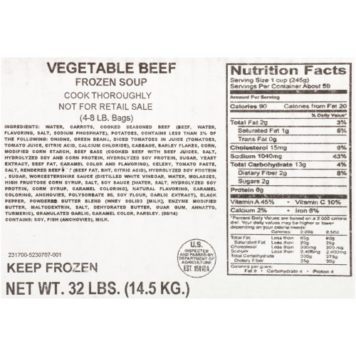HEINZ CHEF FRANCISCO Vegetable Beef Soup, 8 lb. Bag (Pack of 4)