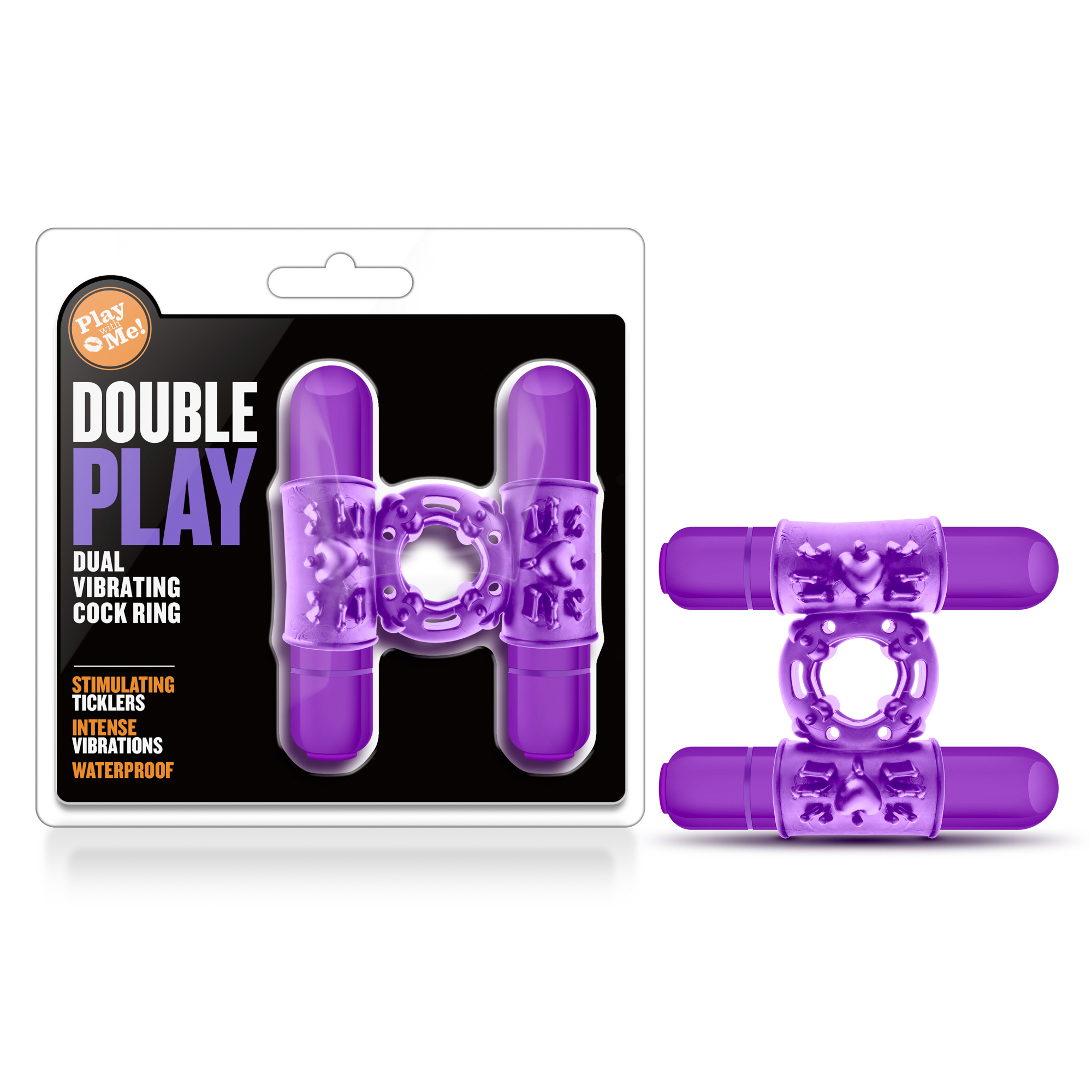 Play With Me - Double Play - Dual Vibrating Cockring - Purple