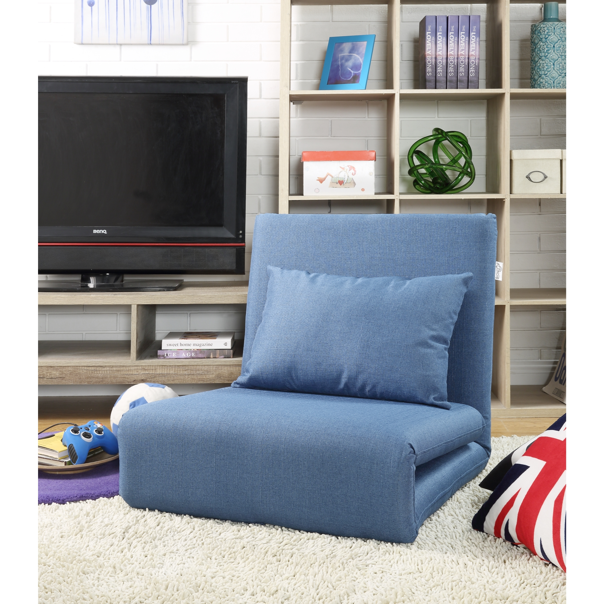 Loungie Blue Linen Chair Sleeper Dorm Bed Couch Lounger Sofa 5-Position Adjustable