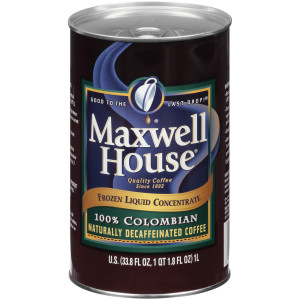 MAXWELL HOUSE 100% Colombian Decaf Frozen Liquid Coffee, 1 L. Can (Pack of 4) image
