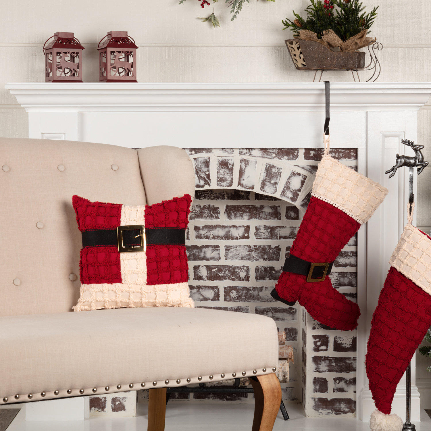 Chenille Christmas Santa Suit Pillow 12x12