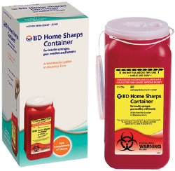 Becton Dickinson Sharps Container 2-Piece Red Vertical Entry Lid, 323487 - EACH