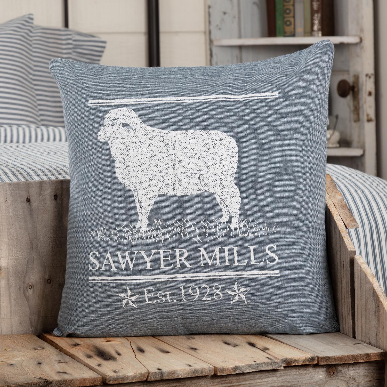 Sawyer Mill Blue Lamb Pillow 18x18