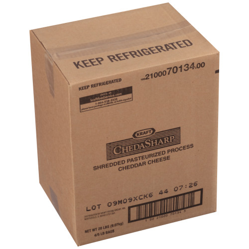 KRAFT ChedaSharp Shredded Cheddar Cheese, 5 lb. Pouch (Pack of 4)