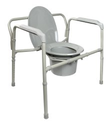 Folding Commode Chair, McKesson, Fixed Arm Steel Frame Back Bar 15-1/2 to 22 Inch Height, 146-11117N-1 - EACH