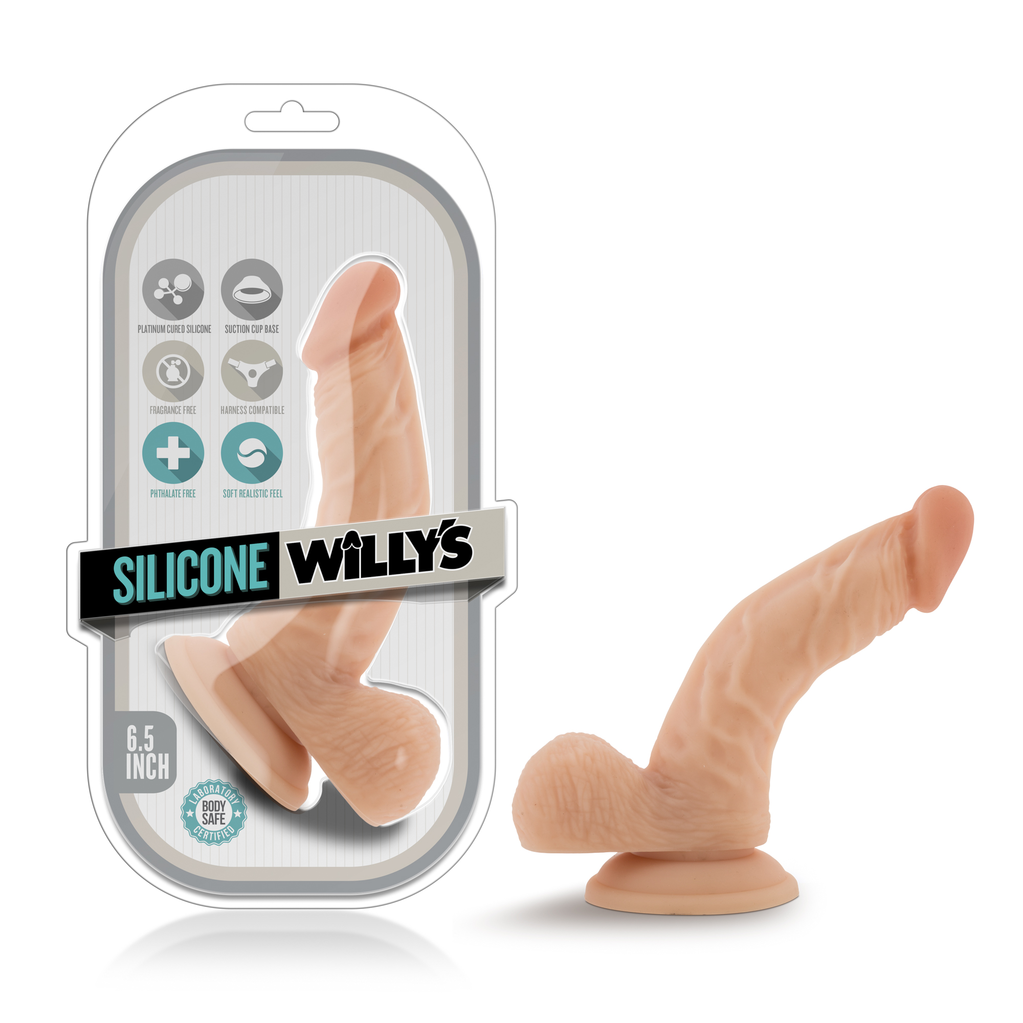 Silicone Willy's - 6.5 Inch Silicone Dildo With Balls - Vanilla