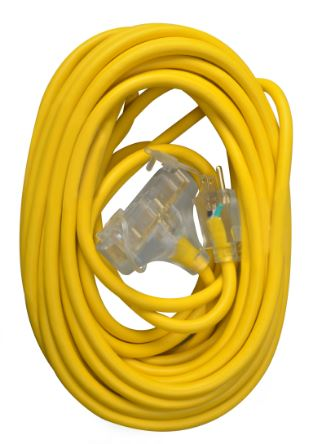 SW 4188SW8802 12/3 50' SJTW TRI-SOURCE EXTENSION YELLOW CORD W/LIGHTED END CS=12 Alt: 56-95-48-01