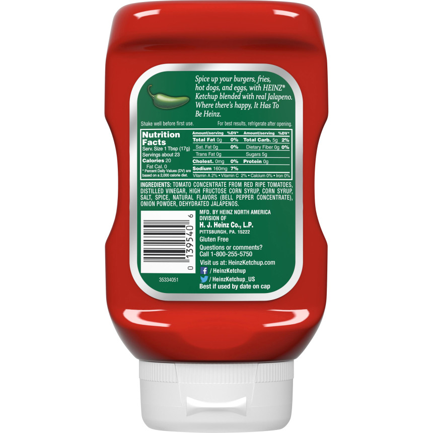 Heinz Jalapeno Tomato Ketchup 14 oz Bottle