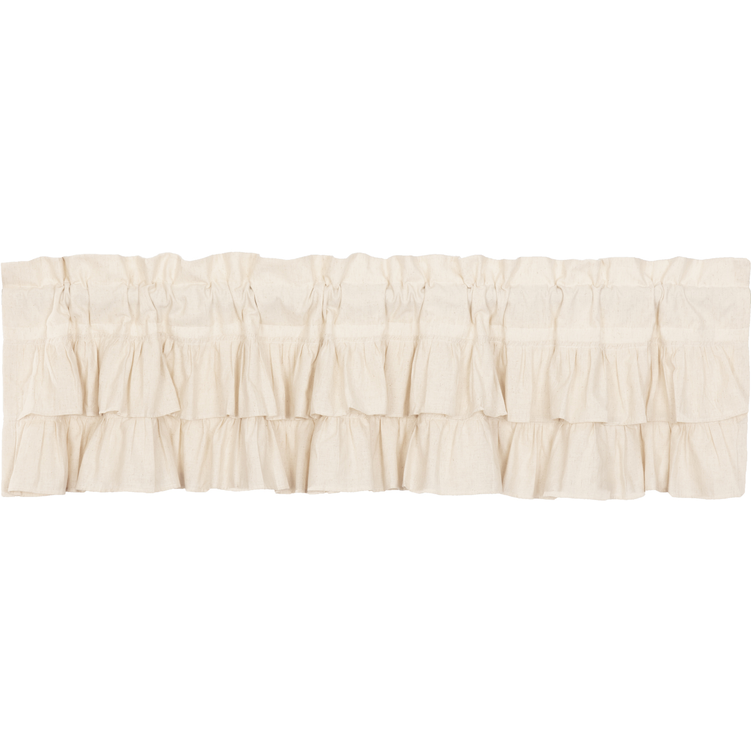 Simple Life Flax Natural Ruffled Valance 16x72
