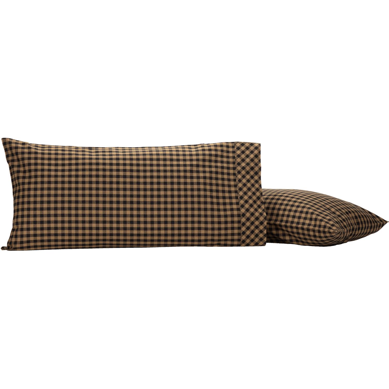 Black Check King Pillow Case Set of 2 21x40