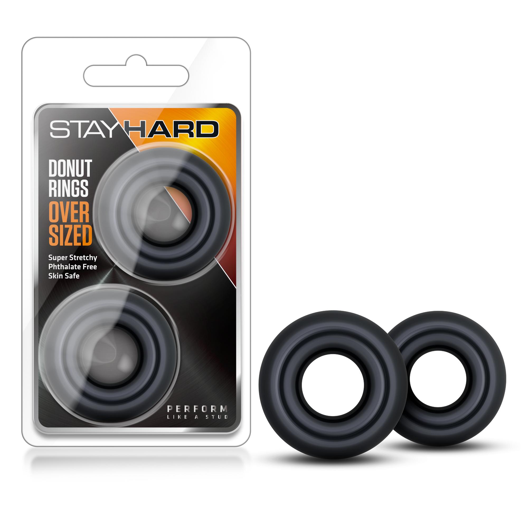 Stay Hard - Donut Rings Oversized - Black