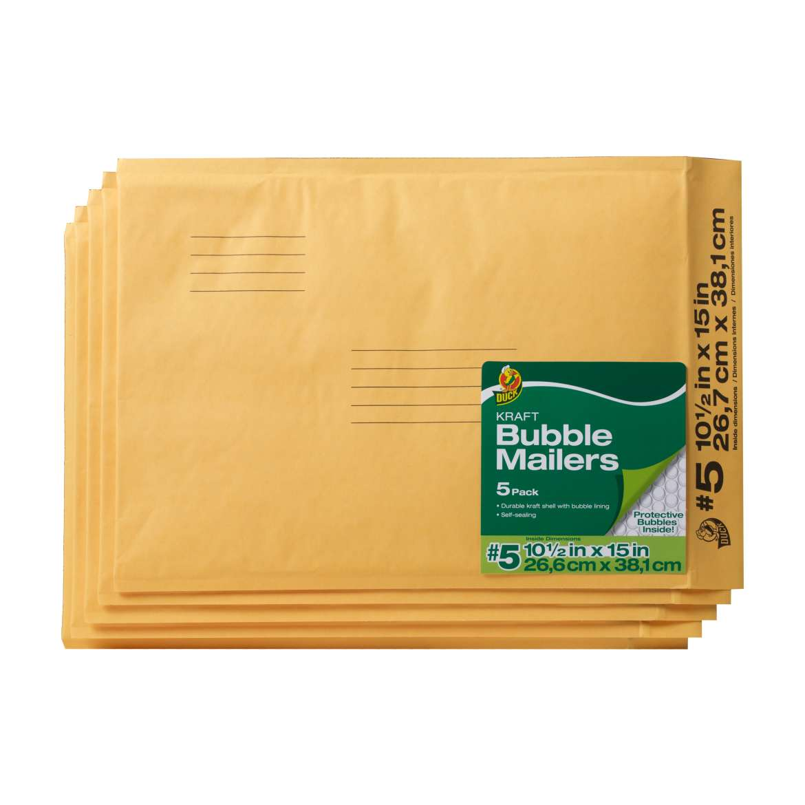 Duck® Brand Kraft Bubble Mailers - Manila, 5 pk, 10.5 in. x 15 in. Image