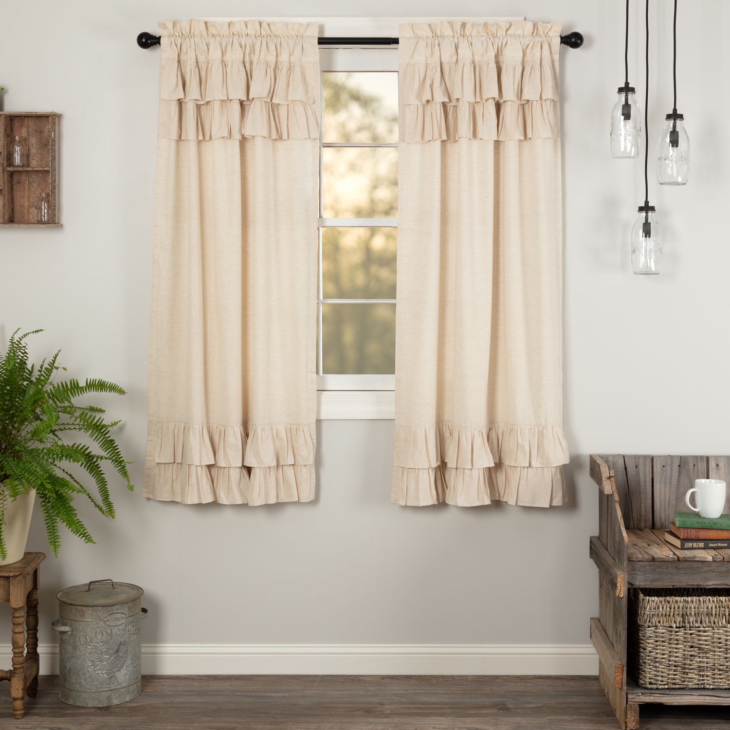 Simple Life Flax Natural Ruffled Short Panel Set of 2 63x36