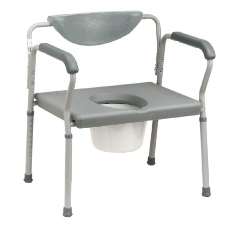Bariatric Commode Chair drive Fixed Arm Steel Frame Padded Back 15 to 22 Inch Height, Drive 11130-2 - EACH