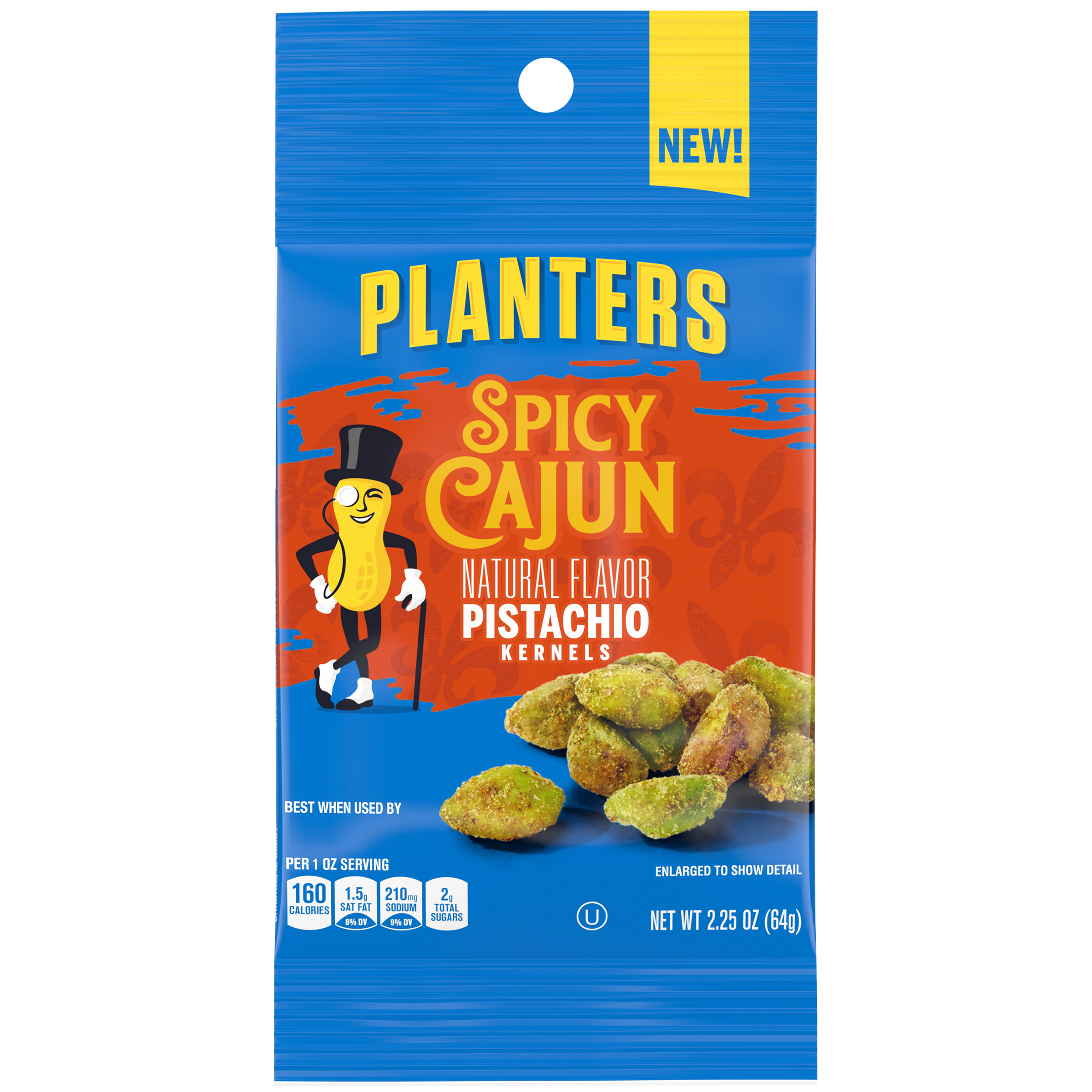 Planters Spicy Cajun Pistachios, 2.25 oz Packet