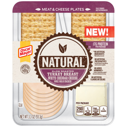 Natural Slow Roasted Turkey Breast, White Cheddar Cheese & Whole Wheat Crackers Tray, 3.3 oz