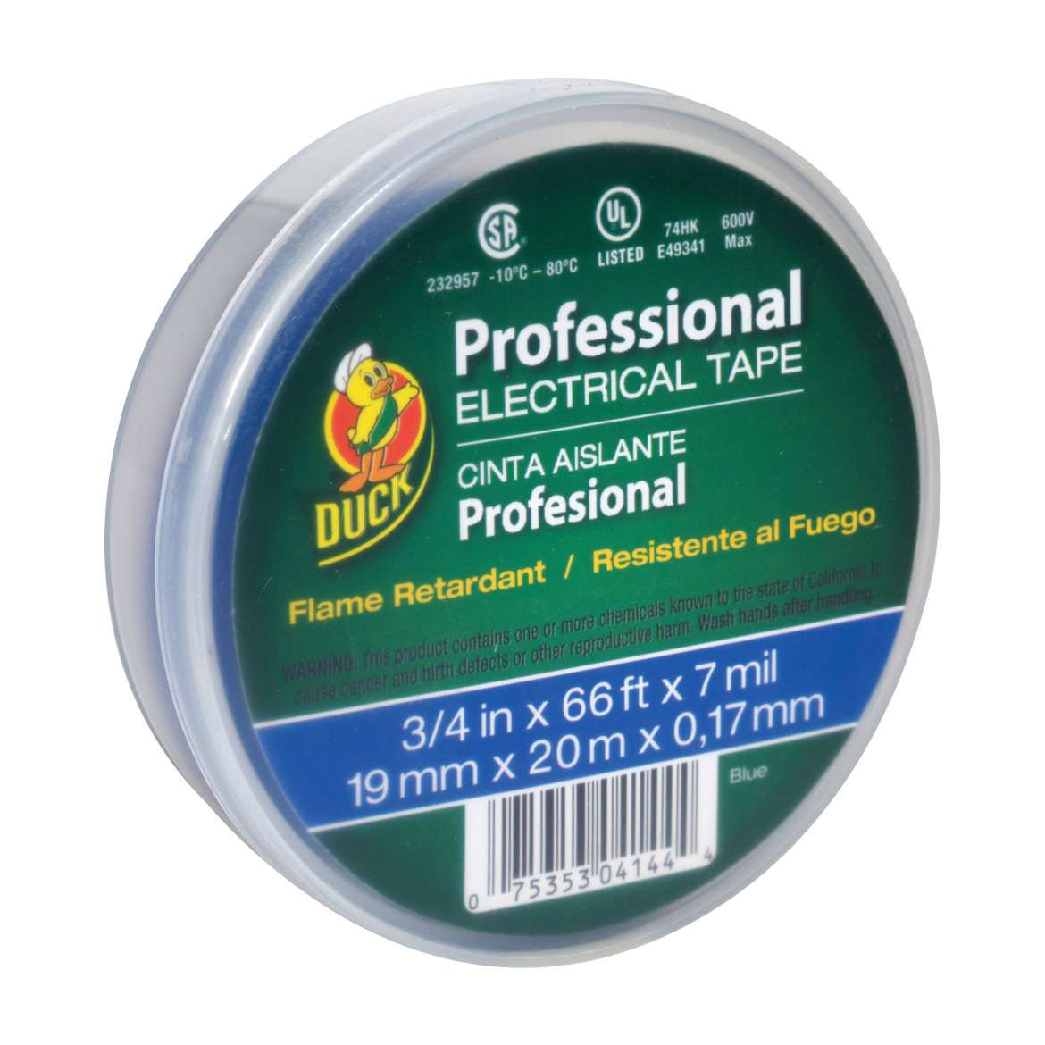 Duck® Brand Professional Electrical Tape Canister Pack - Blue, .75 in. x 66 ft. x 7 mil. Image